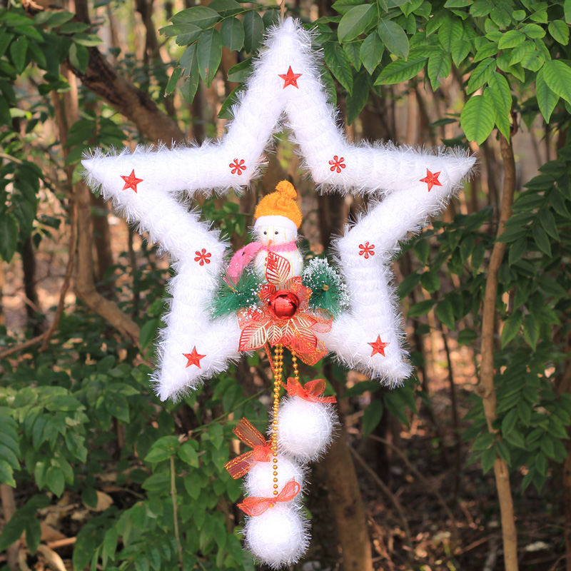Christmas decorations foam pentagram star pendant santa claus christmas door hanging christmas window decoration supplies
