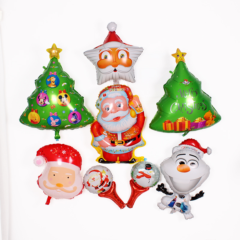 Christmas scene layout christmas decorations christmas tree christmas snowman santa claus balloon aluminum balloons