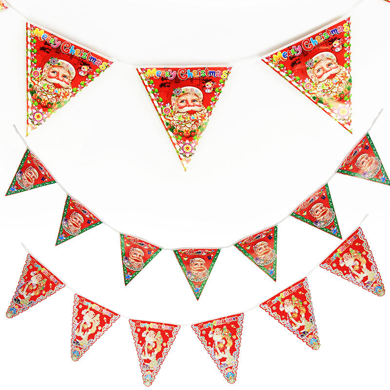Christmas supplies christmas santa claus christmas paper banners pennant bunting christmas window display decorative flags