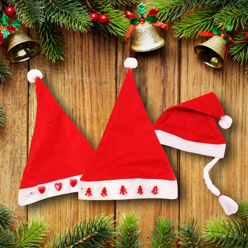 Christmas tree decorations christmas gift santa claus hat adult children christmas hats boys and girls wovens