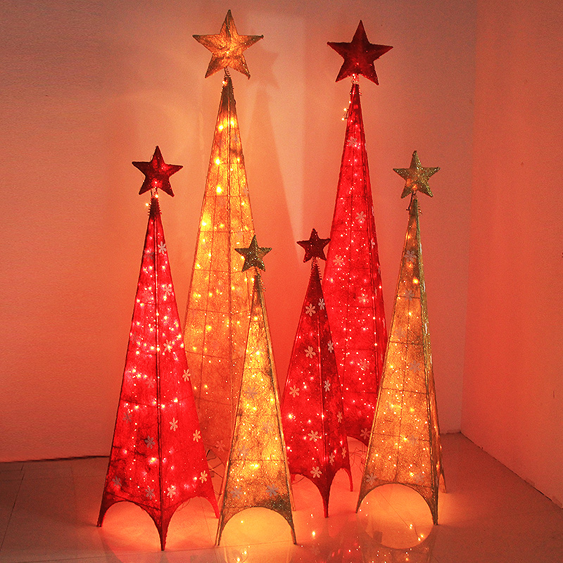 Christmas tree wrought iron red and gold four corner tower tree tree network christmas decorations hotel mall scene layout