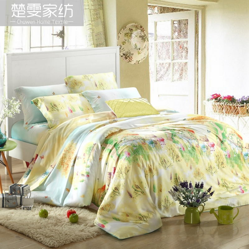 Chu wen textile 2016 new spring and summer bedding sided tencel denim pieces 100% pure tencel linen love