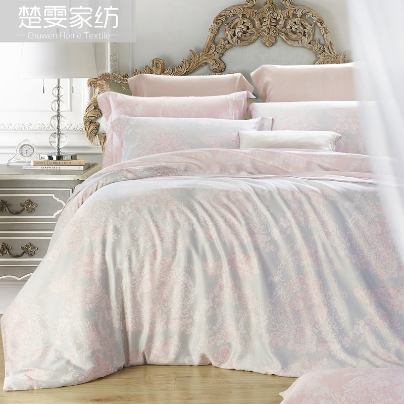 Chu wen textile authentic 16 new spring and summer 100% pure tencel denim reactive printing bedding linen family of four di