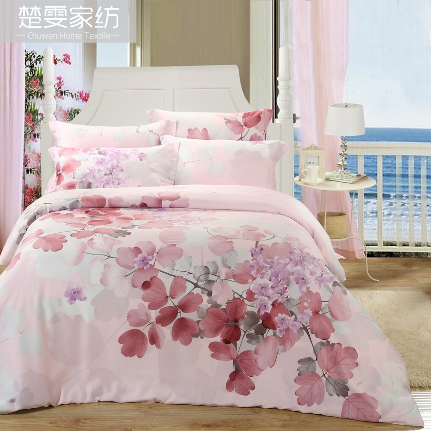 Chu wen textile authentic 16 new spring and summer 100% pure tencel denim reactive printing bedding linen family of four lu
