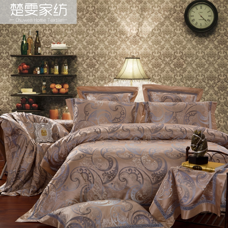 Chu wen textile bedding genuine european wedding sebastian 100 silk jacquard silk linen six sets