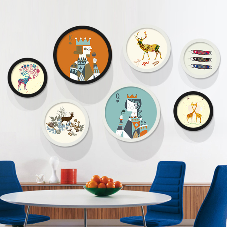 Circular living room decorative painting modern minimalist paintings framed painting small fresh cartoon children's bedroom wall murals nordic