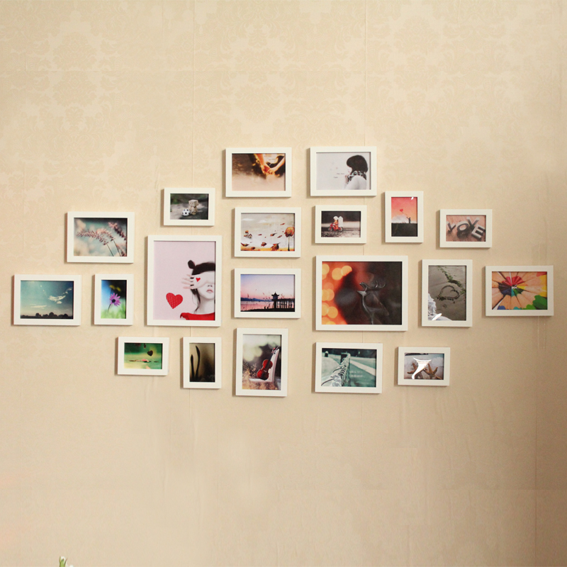 Cit 7 inch frame creative photo frame wall combination photo wall photo wall living room bedroom wall photo wall 20 frame solid wood frame