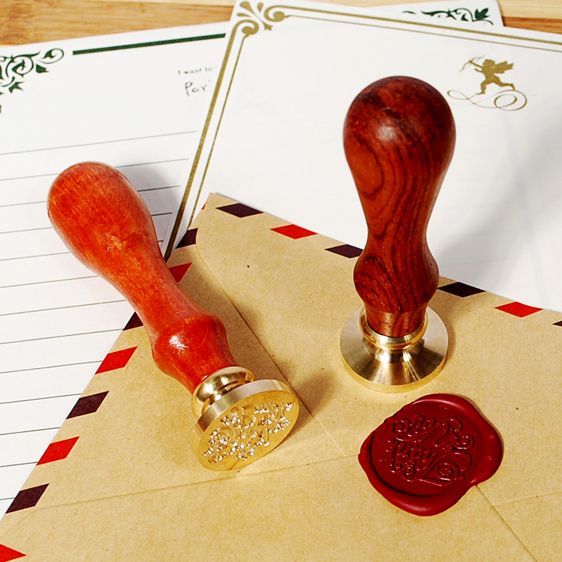 Classic pattern wood handle single stamp wax seal wax seal (only copper head and handle)
