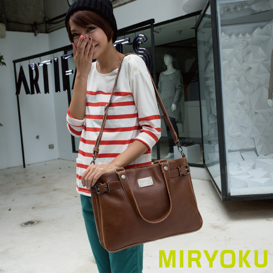 [] Classic retro leather miryoku series/double intercalations minimalist dual shoulder bag (brown)