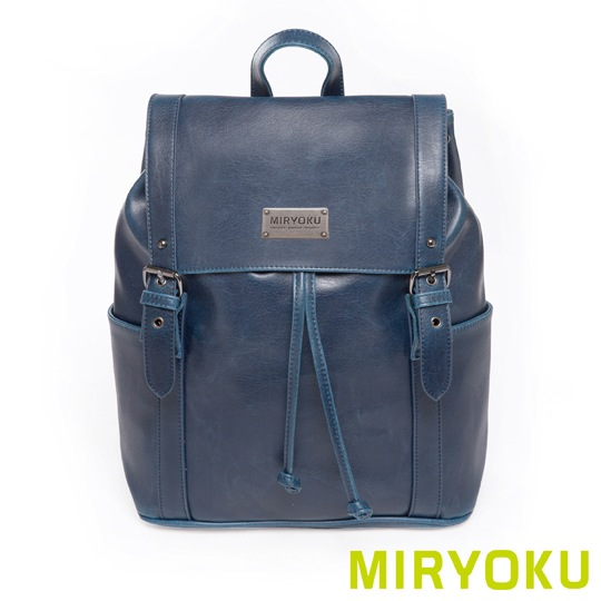 [] Classic retro leather miryoku series/whims double lace drawstring bag dual (dark blue)