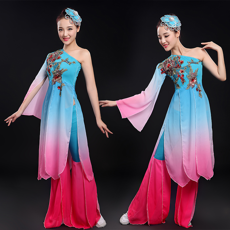 Classical dance costume costume fan dance 2016 spring and summer new shoulder sleeves women square dance dance dance clothing square dance costumes