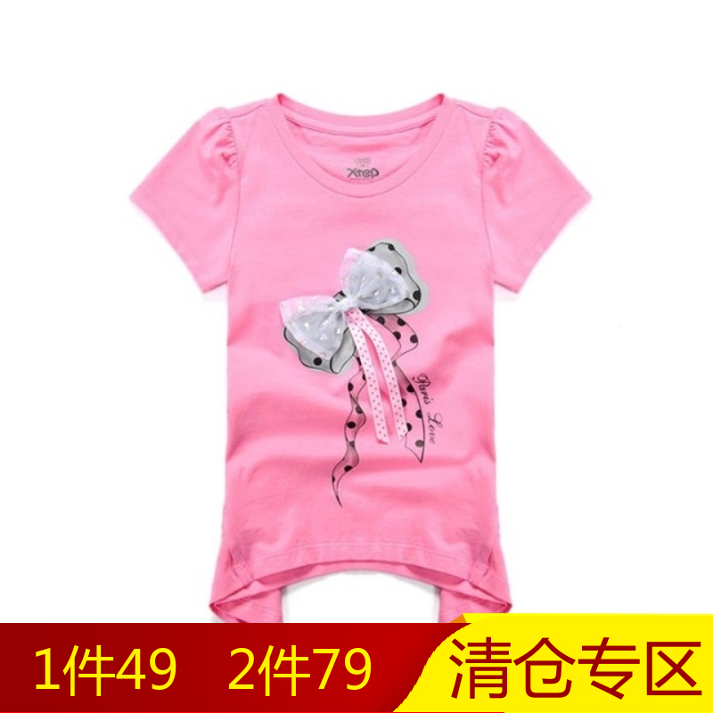 [Clearance] [1 pcs 49,2 two 79] xtep kids girls bow korean version of the three-dimensional printing short t-shirt