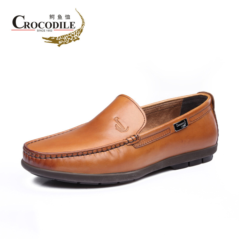 [Clearance] crocodile men's low to help set foot round men's business casual shoes leather shoes peas shoes driving shoes