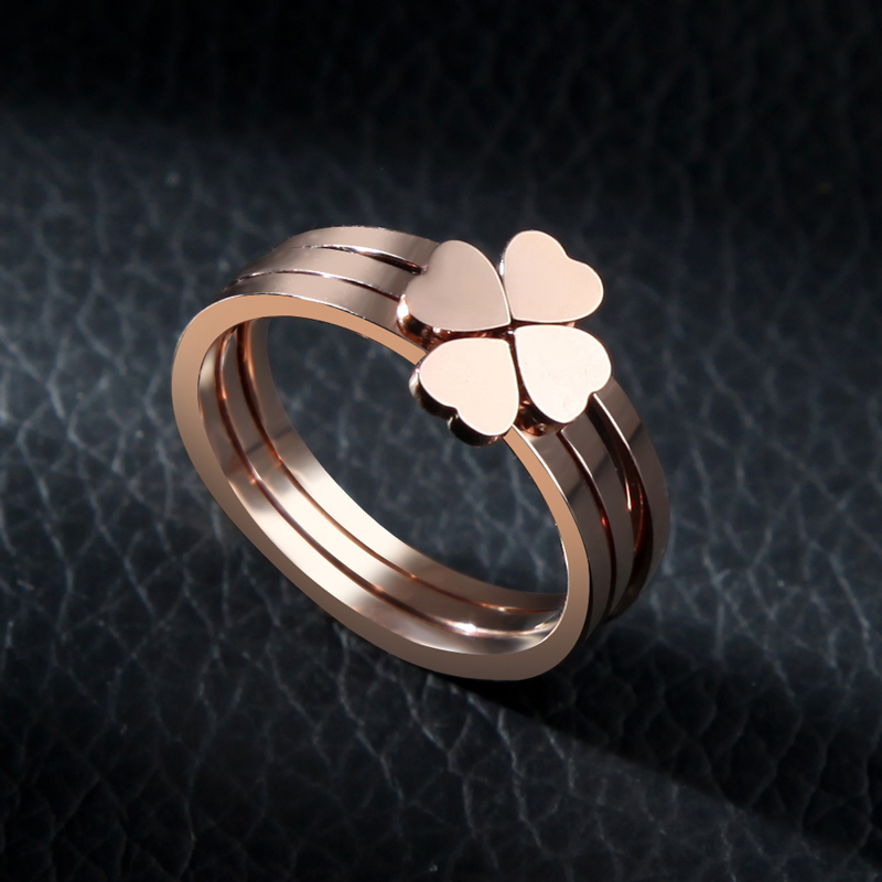 Clover ring female korean version of titanium steel rose gold plated lucky creative jewelry ring tail ring finger