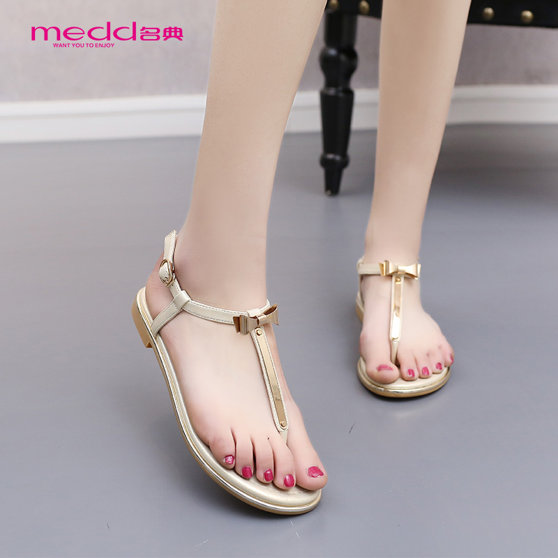 b3a79b1b4c4367 Get Quotations · Code of 2016 new sandals female summer european style bow  flat thong sandals shoes sandals