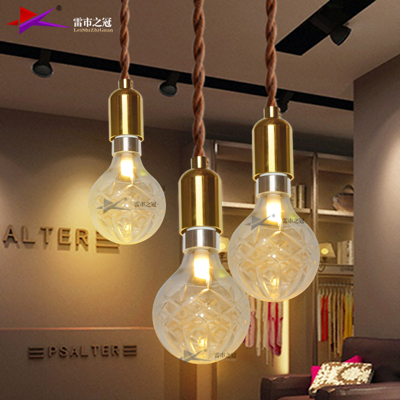 Coffee shop clothing store decoration carved glass led light bulb chandelier modern minimalist led crystal chandelier bulls