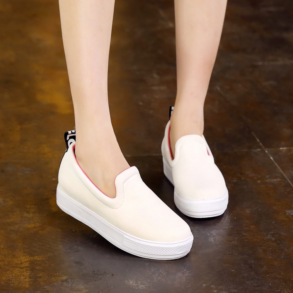 1567ff531 Get Quotations · College casual shoes loafers shoes flat shoes white shoes  spring new singles shoes thick crust shoes