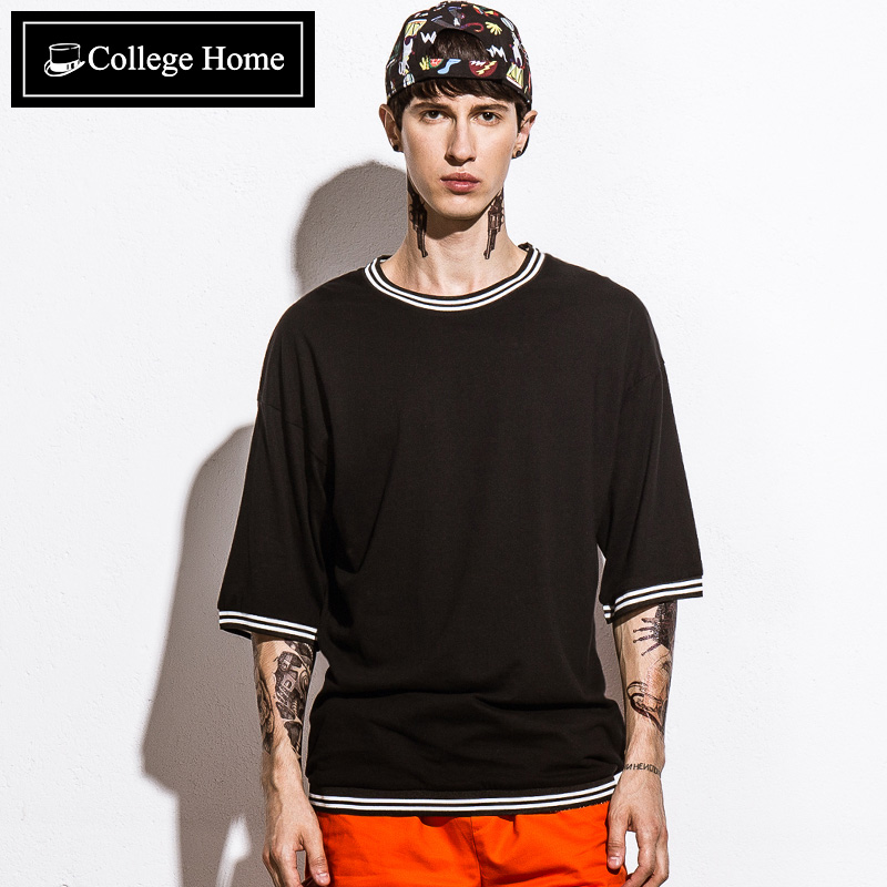 College home sleeve korean men short sleeve t-shirt tide male japanese tide brand popular men's 4 t253