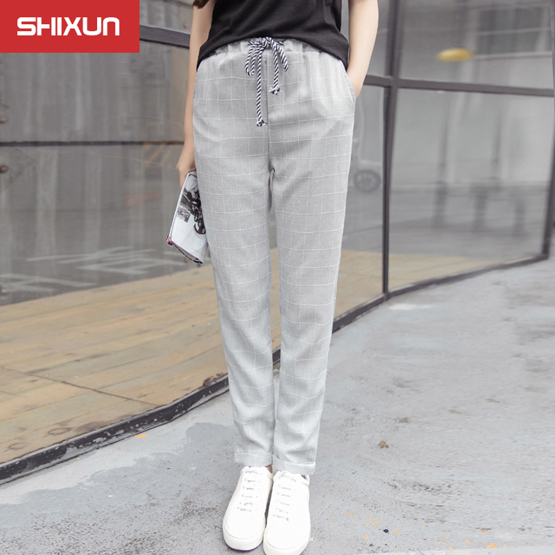 College wind 2016 autumn elastic waist harem pants female korean fan fashion plaid casual long pants pants influx of students