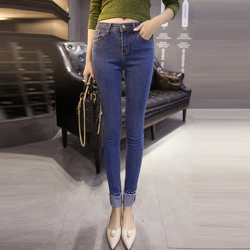 c7d53954062 Get Quotations · College wind girls brushed slim 2016 summer jeans female  student was thin pencil pants jeans pants