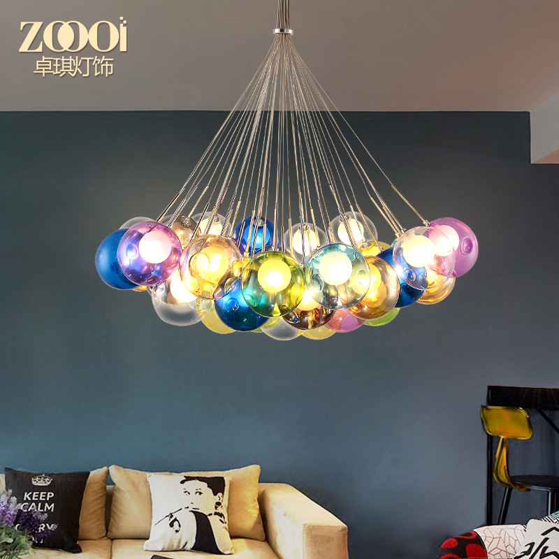 Colored glass ball chandelier ball chandelier creative personality restaurant bar bar children's room lamp bubble chandelier ball chandelier