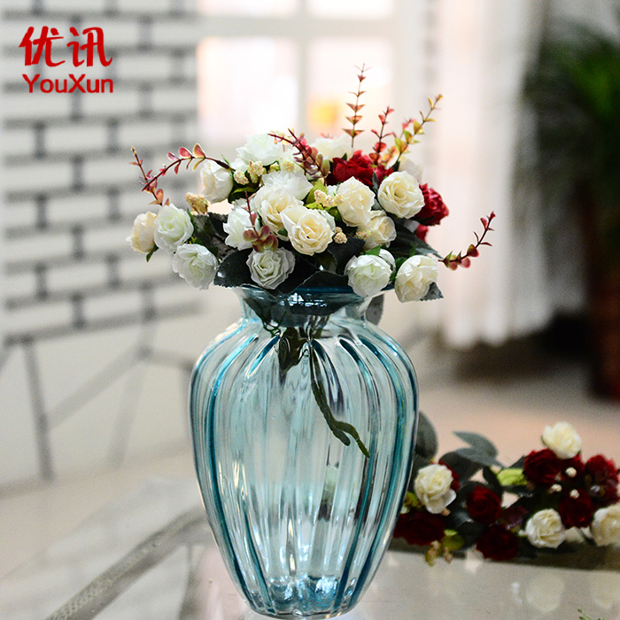 Colored glass vase european transparent glass vase living room table artificial flowers floral ornaments