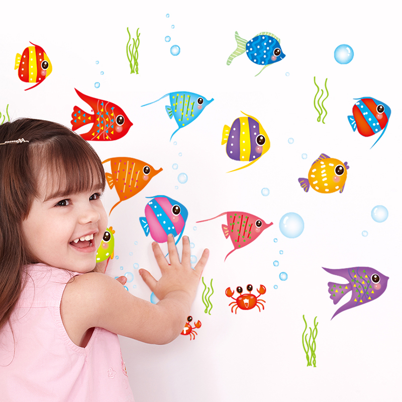 Colorful fish cute cartoon kindergarten children's room bathroom decorations klimts self adhesive wall stickers waterproof
