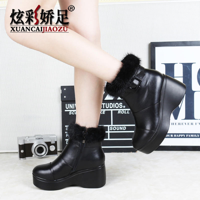 Colorful foot jiao mink wool fur boots 2016 new leather shoes women winter season bottomed boots muffin