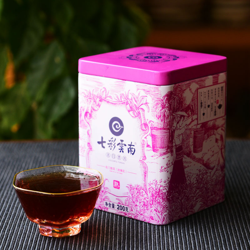 Colorful yunnan qing feng xiang door rose pu'er tea cooked tea loose tea 200g tin