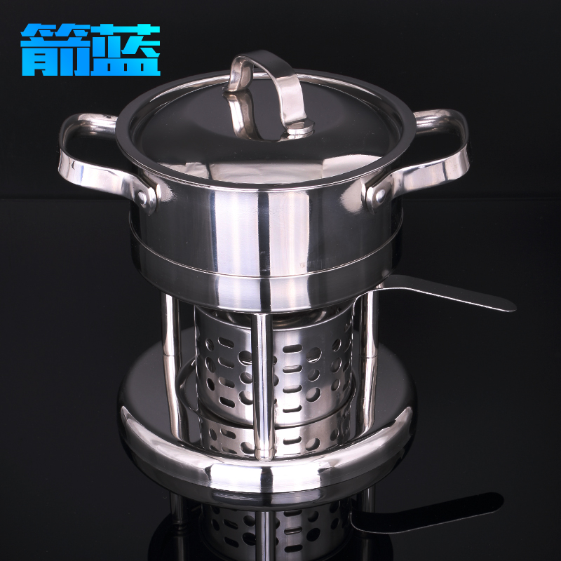 Column type thick stainless steel fondue pot alcohol stove alcohol stove small pot solid-liquid two optional