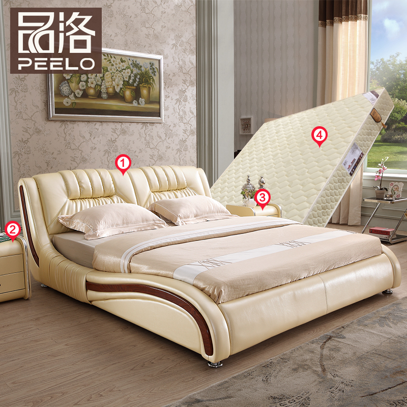 Commodities los leather double bed soft bed marriage bed minimalist modern wood bed 1.8 m 1.5 leather bed leather bed small apartment storage material