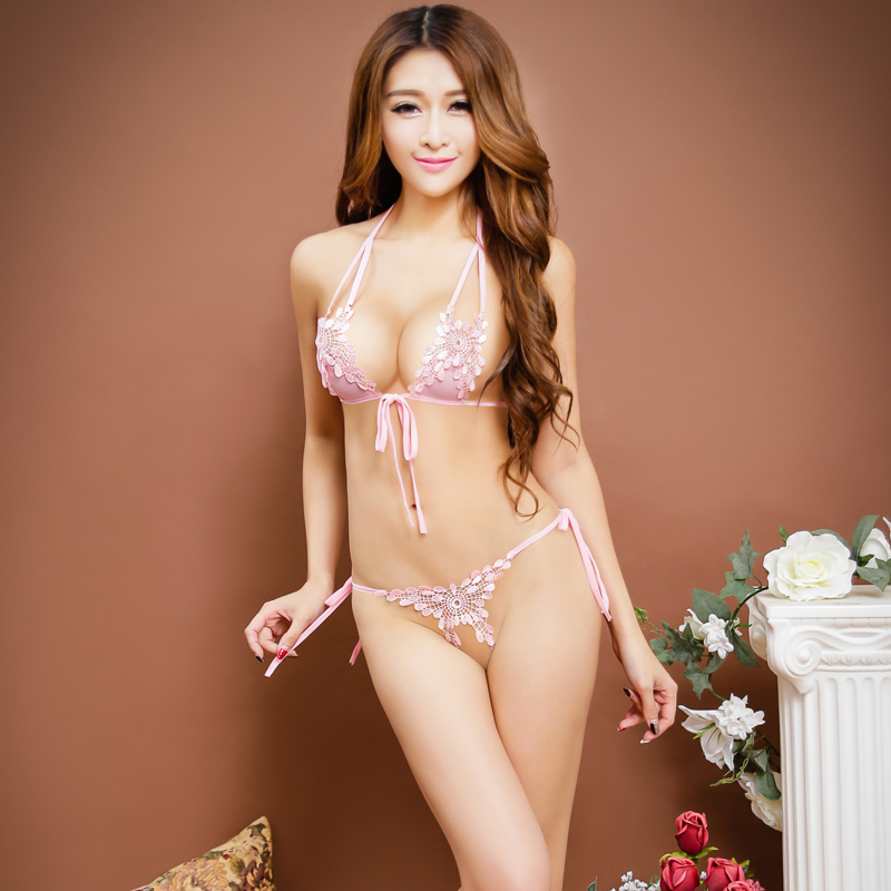 8b92aa675b1 Commodities yin embroidery temptation sexy lingerie bikini three points  three temptation bra set bra panty set