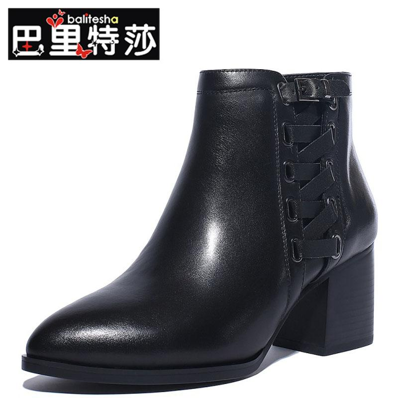 Commuter solid color new tip in the rough with short tube with leather boots leather boots side cross straps decorated