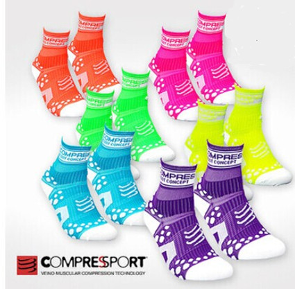 Compressport 3d beans run pro v2 racing marathon running socks brightly colored