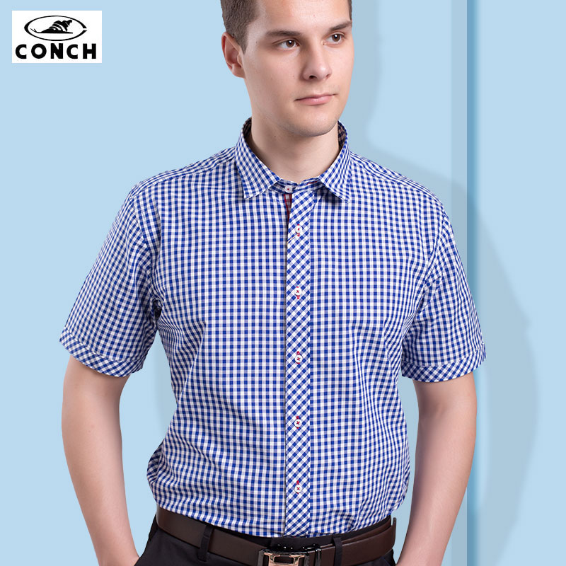 Conch cotton blue plaid short sleeve shirt summer cotton men short sleeve shirt slim young adult casual class