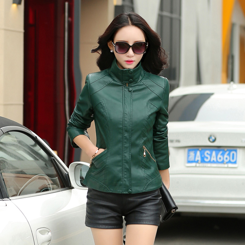 Connaught rui yi ya middle-aged middle-aged women's spring slim leather jacket middle-aged women mom mom spring leather leather jacket