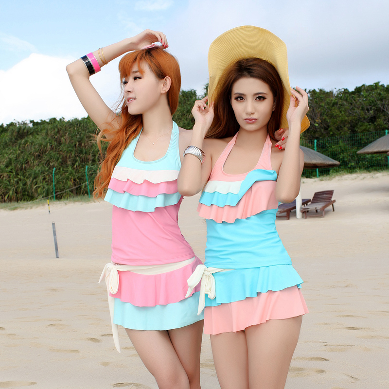 a2a0893f83 Get Quotations · Conservative split skirt was thin female swimsuit rhine  korean students spa swimsuit small chest gather swimsuit