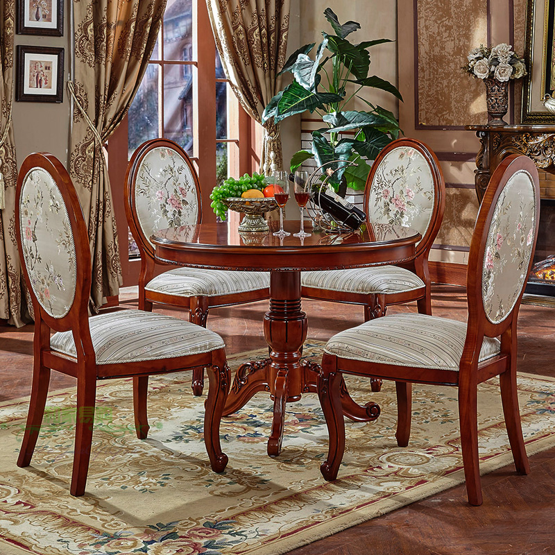 Continental carved wood round table of european negotiating tables and chairs table and four chairs balcony casual coffee table 80/90 cm