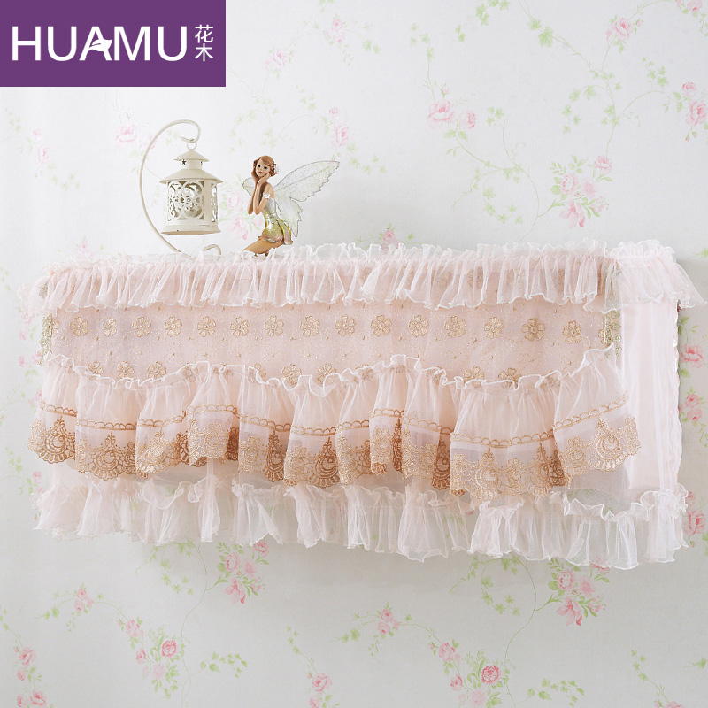 Continental embroidered flowers korean lace cover air conditioning cover all inclusive hang air conditioning units cover hook cover 1 p-1.5 p