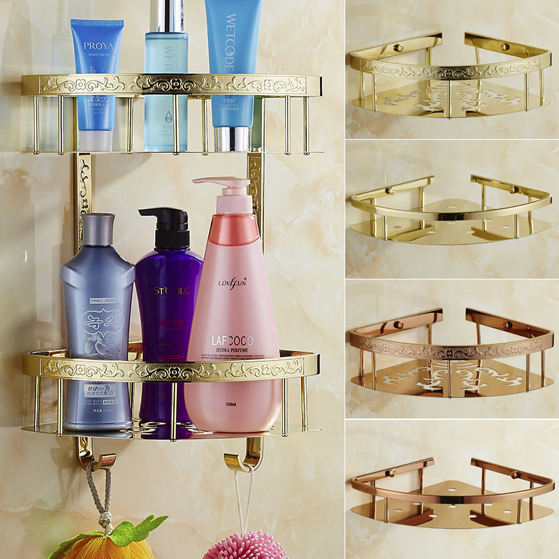 Continental gilt carved setsquare basket bathroom 304 stainless steel double corner shelf board rose gold