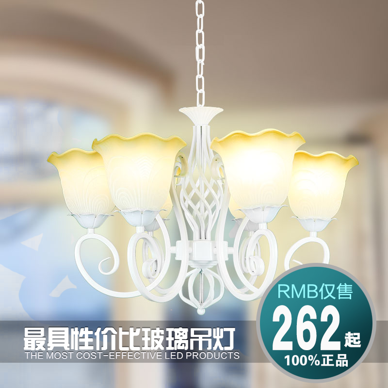 Continental iron white glass chandelier vintage chandelier bedroom dining room den creative art lighting fixtures shipping