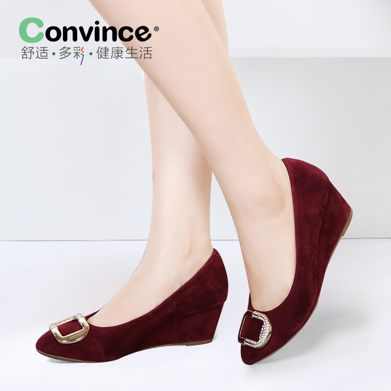 Convince2016 spring slope with pointed shoes rhinestone square buckle suede shoes mom shoes slope with sheep skin
