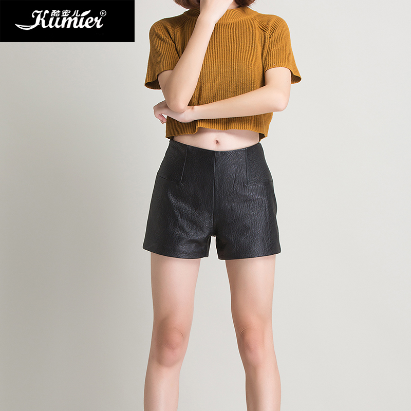 Cool claudel foam skin haining leather shorts female 2016 new zealand sheep skin short leather was thin pants wide pants
