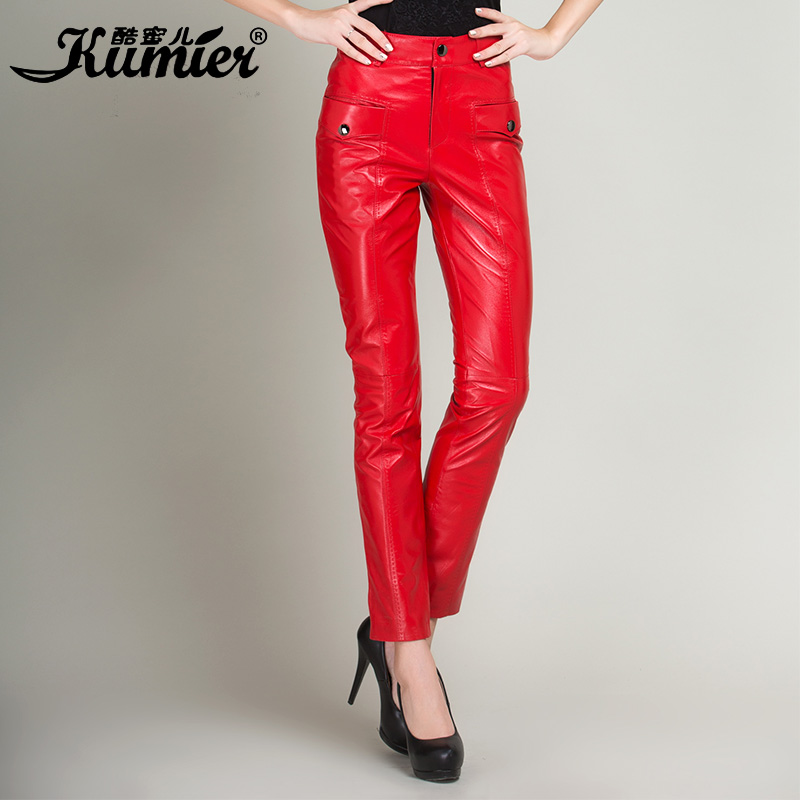 Cool claudel genuine leather female sheep skin leather pants waist trousers 2015 new autumn and winter was thin leather pants leather trousers