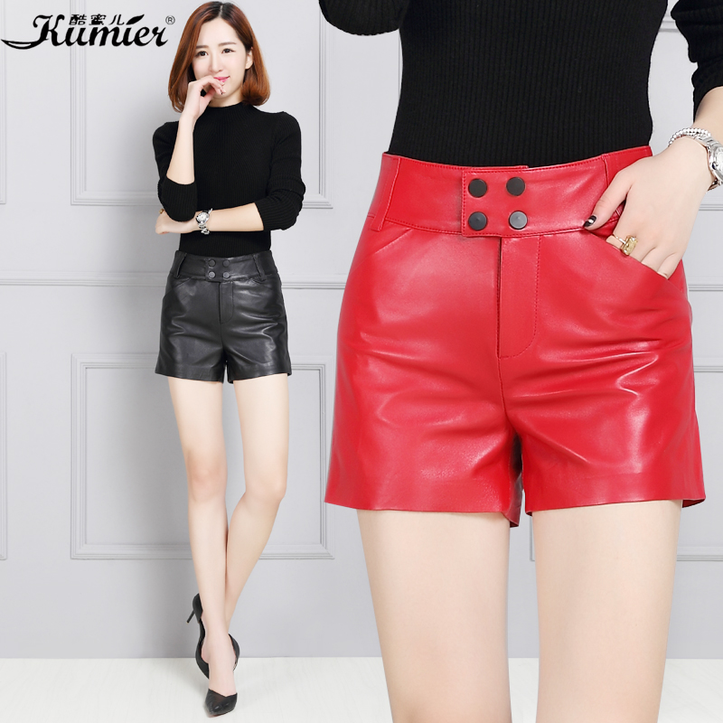 Cool claudel leather shorts female autumn and winter leather shorts female sheep skin leather leather was thin leather pants waist big yards Shorts
