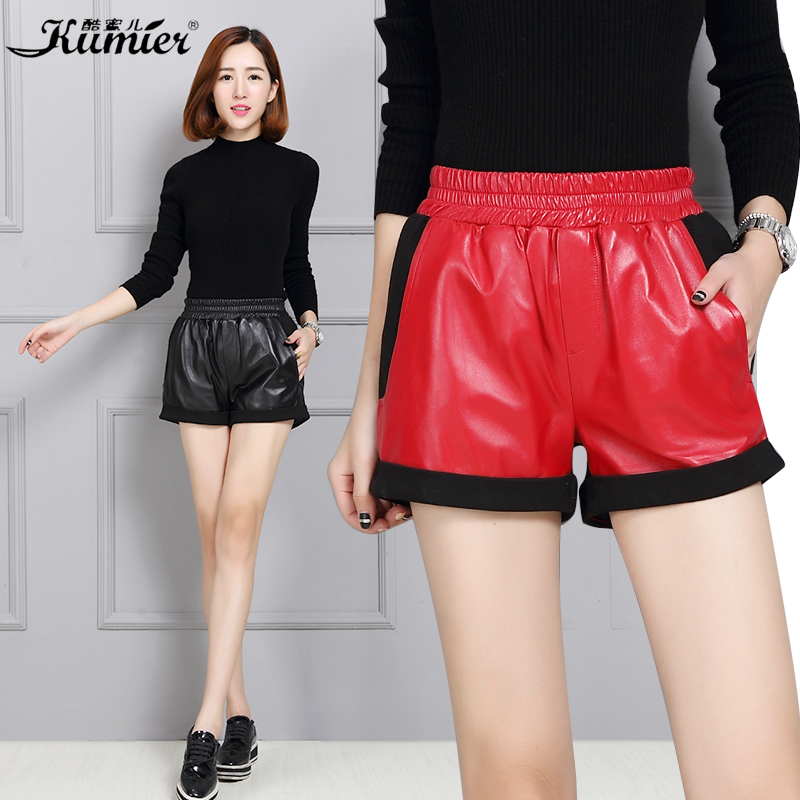 Cool claudel leather shorts female leather shorts female sheep skin leather shorts female autumn and winter stitching leather leather wide pants