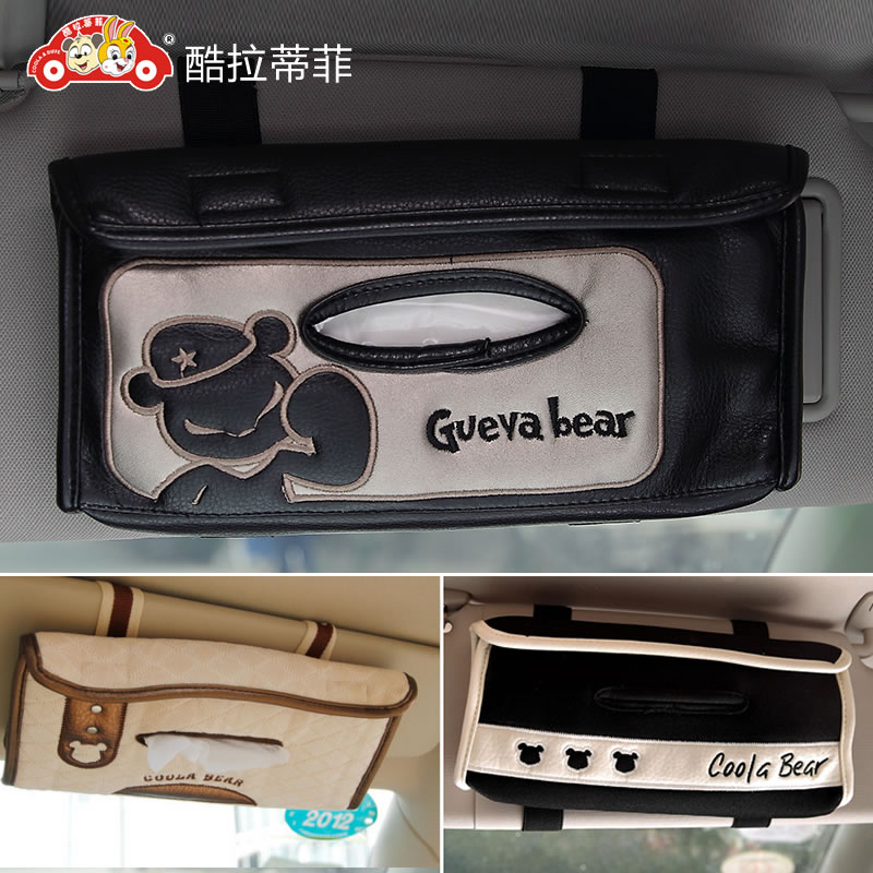 Cool latifi korea creative car visor tissue box cover tissue box hanging car pumping tray cartoon decorations