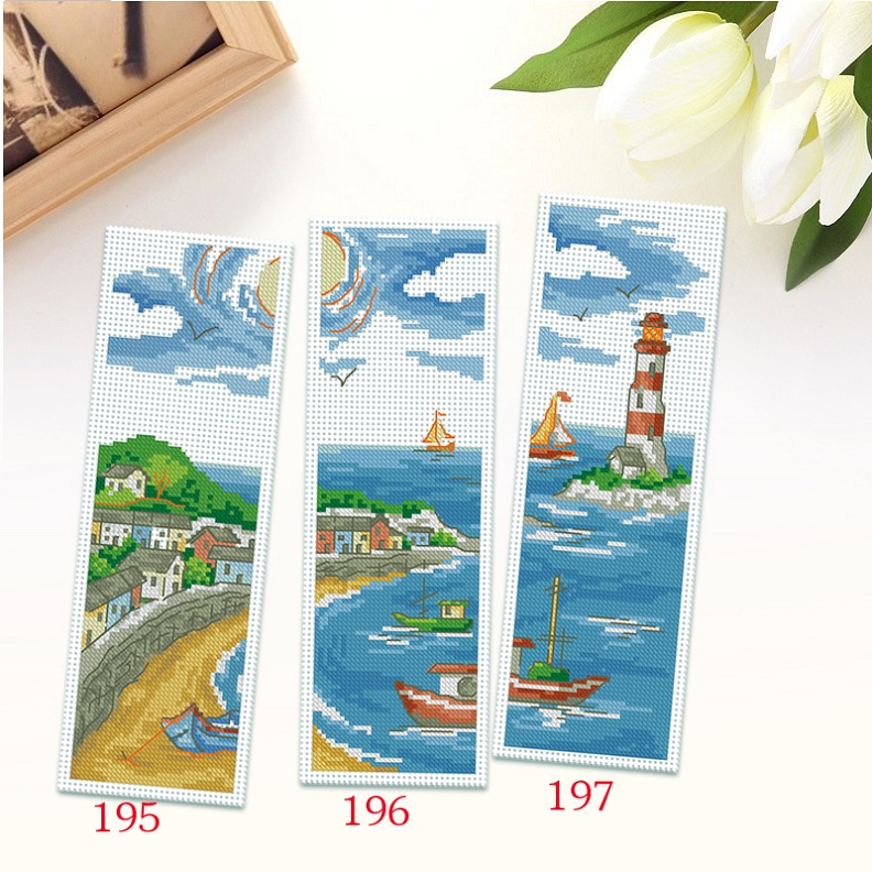 Cool stitch new living room seaview bookmarker 18ct bookmark student teacher's day gift