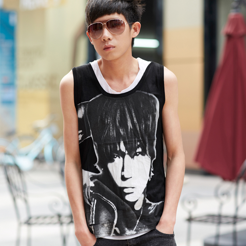 Cool stream of european and american style hip-hop summer sleeveless undershirt undershirt vest fake two teenagers slim thin section of small vest tide