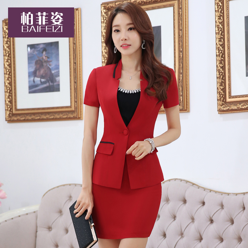 Copperfield posture professional ladies wear skirt suits overalls female summer 2016 new summer fashion short sleeve black suit